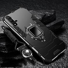 Coque Contour Silicone et Plastique Housse Etui Mat avec Magnetique Support pour Huawei Nova 5 Noir