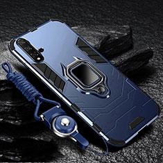 Coque Contour Silicone et Plastique Housse Etui Mat avec Magnetique Support pour Huawei Nova 5 Pro Bleu