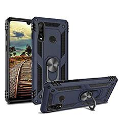 Coque Contour Silicone et Plastique Housse Etui Mat avec Magnetique Support pour Huawei P30 Lite Bleu