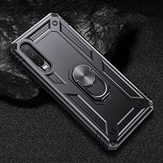Coque Contour Silicone et Plastique Housse Etui Mat avec Magnetique Support pour Huawei P30 Noir