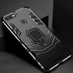 Coque Contour Silicone et Plastique Housse Etui Mat avec Magnetique Support pour Huawei Y6 (2018) Noir