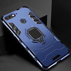 Coque Contour Silicone et Plastique Housse Etui Mat avec Magnetique Support pour Huawei Y6 Prime (2018) Bleu