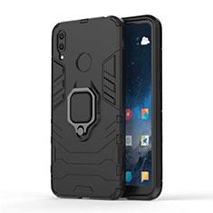 Coque Contour Silicone et Plastique Housse Etui Mat avec Magnetique Support pour Huawei Y7 (2019) Noir
