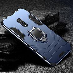 Coque Contour Silicone et Plastique Housse Etui Mat avec Magnetique Support pour Oppo Realme X Bleu