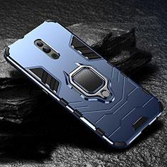 Coque Contour Silicone et Plastique Housse Etui Mat avec Magnetique Support pour Oppo Reno Bleu