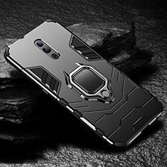 Coque Contour Silicone et Plastique Housse Etui Mat avec Magnetique Support pour Oppo Reno Noir