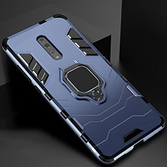 Coque Contour Silicone et Plastique Housse Etui Mat avec Magnetique Support pour Oppo Reno Z Bleu