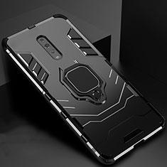 Coque Contour Silicone et Plastique Housse Etui Mat avec Magnetique Support pour Oppo Reno Z Noir