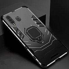Coque Contour Silicone et Plastique Housse Etui Mat avec Magnetique Support pour Samsung Galaxy A60 Noir