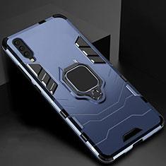 Coque Contour Silicone et Plastique Housse Etui Mat avec Magnetique Support pour Samsung Galaxy A70 Bleu