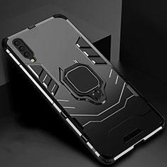 Coque Contour Silicone et Plastique Housse Etui Mat avec Magnetique Support pour Samsung Galaxy A70 Noir