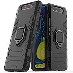 Coque Contour Silicone et Plastique Housse Etui Mat avec Magnetique Support pour Samsung Galaxy A80 Noir