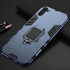 Coque Contour Silicone et Plastique Housse Etui Mat avec Magnetique Support pour Samsung Galaxy Note 10 5G Bleu
