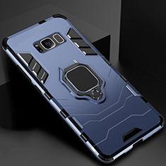 Coque Contour Silicone et Plastique Housse Etui Mat avec Magnetique Support pour Samsung Galaxy S8 Plus Bleu
