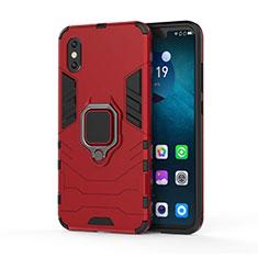 Coque Contour Silicone et Plastique Housse Etui Mat avec Magnetique Support pour Xiaomi Mi 8 Pro Global Version Rouge