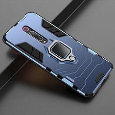 Coque Contour Silicone et Plastique Housse Etui Mat avec Magnetique Support pour Xiaomi Mi 9T Pro Bleu