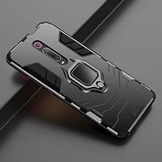 Coque Contour Silicone et Plastique Housse Etui Mat avec Magnetique Support pour Xiaomi Mi 9T Pro Noir