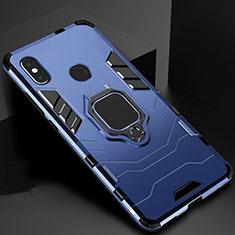Coque Contour Silicone et Plastique Housse Etui Mat avec Magnetique Support pour Xiaomi Mi A2 Bleu