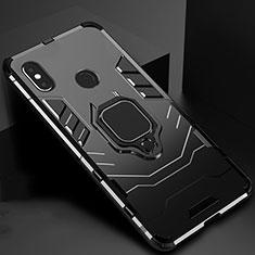 Coque Contour Silicone et Plastique Housse Etui Mat avec Magnetique Support pour Xiaomi Mi A2 Noir