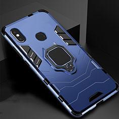 Coque Contour Silicone et Plastique Housse Etui Mat avec Magnetique Support pour Xiaomi Mi Max 3 Bleu
