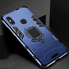 Coque Contour Silicone et Plastique Housse Etui Mat avec Magnetique Support pour Xiaomi Redmi 6 Pro Bleu