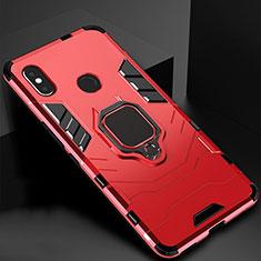 Coque Contour Silicone et Plastique Housse Etui Mat avec Magnetique Support pour Xiaomi Redmi 6 Pro Rouge