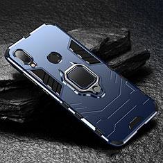 Coque Contour Silicone et Plastique Housse Etui Mat avec Magnetique Support pour Xiaomi Redmi Note 7 Bleu