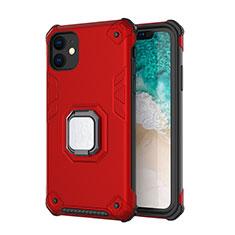 Coque Contour Silicone et Plastique Housse Etui Mat avec Magnetique Support Z01 pour Apple iPhone 11 Rouge