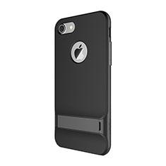 Coque Contour Silicone et Plastique Housse Etui Mat avec Support A01 pour Apple iPhone 7 Noir
