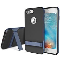 Coque Contour Silicone et Plastique Housse Etui Mat avec Support A01 pour Apple iPhone 8 Plus Bleu