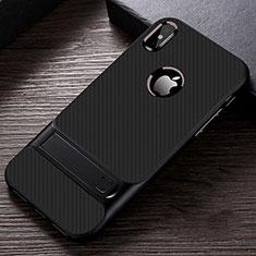 Coque Contour Silicone et Plastique Housse Etui Mat avec Support A01 pour Apple iPhone X Noir
