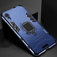 Coque Contour Silicone et Plastique Housse Etui Mat avec Support A01 pour Apple iPhone XR Bleu