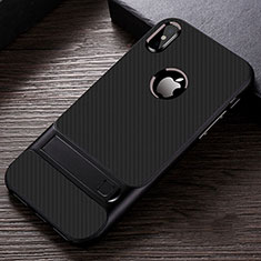 Coque Contour Silicone et Plastique Housse Etui Mat avec Support A01 pour Apple iPhone Xs Noir