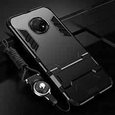 Coque Contour Silicone et Plastique Housse Etui Mat avec Support A01 pour Huawei Enjoy 20 Plus 5G Noir