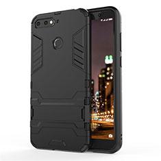 Coque Contour Silicone et Plastique Housse Etui Mat avec Support A01 pour Huawei Honor 7A Noir