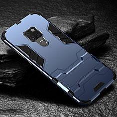 Coque Contour Silicone et Plastique Housse Etui Mat avec Support A01 pour Huawei Mate 20 Bleu