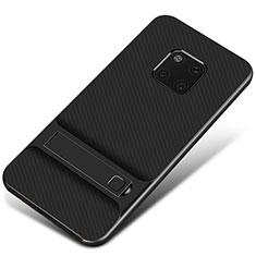 Coque Contour Silicone et Plastique Housse Etui Mat avec Support A01 pour Huawei Mate 20 Pro Noir