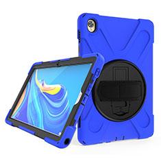 Coque Contour Silicone et Plastique Housse Etui Mat avec Support A01 pour Huawei MatePad 10.8 Bleu