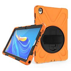 Coque Contour Silicone et Plastique Housse Etui Mat avec Support A01 pour Huawei MatePad 10.8 Orange
