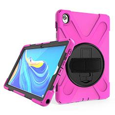 Coque Contour Silicone et Plastique Housse Etui Mat avec Support A01 pour Huawei MatePad 10.8 Rose Rouge