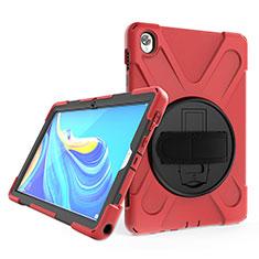 Coque Contour Silicone et Plastique Housse Etui Mat avec Support A01 pour Huawei MatePad 10.8 Rouge