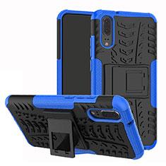 Coque Contour Silicone et Plastique Housse Etui Mat avec Support A01 pour Huawei P20 Bleu