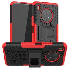 Coque Contour Silicone et Plastique Housse Etui Mat avec Support A01 pour Huawei Y9a Rouge