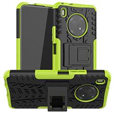 Coque Contour Silicone et Plastique Housse Etui Mat avec Support A01 pour Huawei Y9a Vert