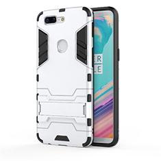 Coque Contour Silicone et Plastique Housse Etui Mat avec Support A01 pour OnePlus 5T A5010 Blanc