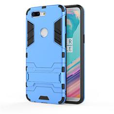 Coque Contour Silicone et Plastique Housse Etui Mat avec Support A01 pour OnePlus 5T A5010 Bleu Ciel