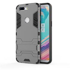 Coque Contour Silicone et Plastique Housse Etui Mat avec Support A01 pour OnePlus 5T A5010 Gris