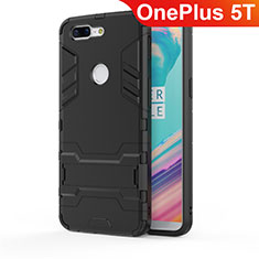 Coque Contour Silicone et Plastique Housse Etui Mat avec Support A01 pour OnePlus 5T A5010 Noir