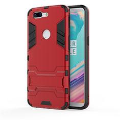 Coque Contour Silicone et Plastique Housse Etui Mat avec Support A01 pour OnePlus 5T A5010 Rouge