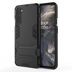 Coque Contour Silicone et Plastique Housse Etui Mat avec Support A01 pour OnePlus Nord Noir